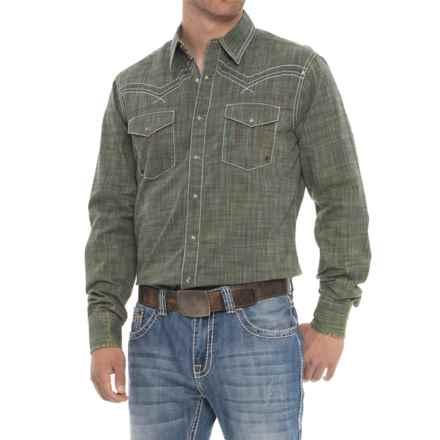 Wrangler Rock 47 Western Shirt - Snap Front, Long Sleeve (For Men) in Dark Green - Overstock