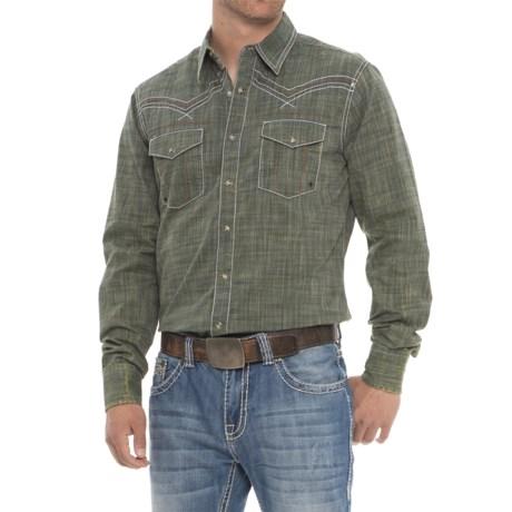 Wrangler Rock 47 Western Shirt - Snap Front, Long Sleeve (For Men) in Dark Green