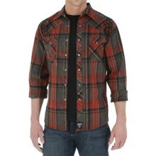 Wrangler Rock 47 Western Shirt - Snap Front, Long Sleeve (For Men) in Red/Charcoal Plaid - Closeouts