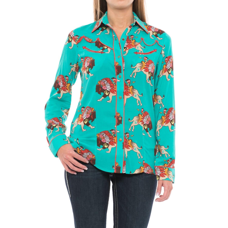 Wrangler rodeo quincy buffalo print shirt for women for Women s turquoise long sleeve shirt