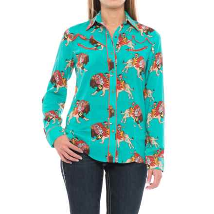 Wrangler Rodeo Quincy Buffalo Print Shirt - Long Sleeve (For Women) in Turquoise - Closeouts