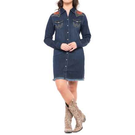 Wrangler Rodeo Quincy Denim Dress - Long Sleeve (For Women) in Deep Denim - Closeouts
