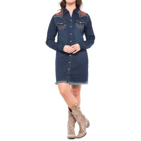 Wrangler Rodeo Quincy Denim Dress - Long Sleeve (For Women) in Deep Denim