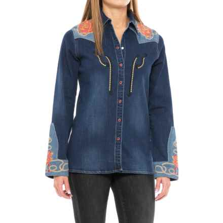 Wrangler Rodeo Quincy Embellished Denim Shirt - Snap Front, Long Sleeve (For Women) in Denim - Closeouts