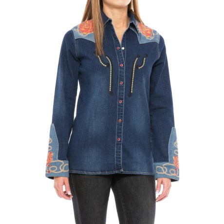 Wrangler Rodeo Quincy Embellished Denim Shirt - Snap Front, Long Sleeve (For Women) in Denim