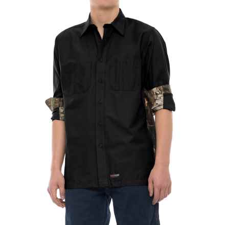 Wrangler Rugged Canvas Camo Trim Work Shirt - Long Sleeve (For Men) in Black/Camo - Closeouts