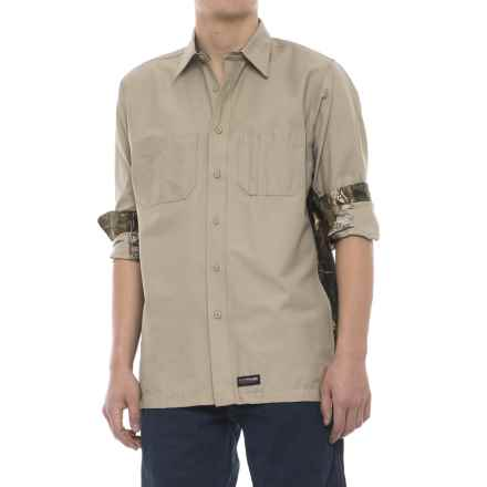 Wrangler Rugged Canvas Camo Trim Work Shirt - Long Sleeve (For Men) in Khaki/Camo - Closeouts