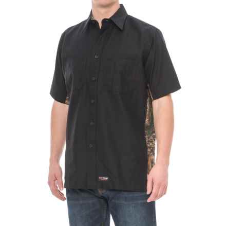 Wrangler Rugged Canvas Camo Trim Work Shirt - Short Sleeve (For Men) in Black/Camo - Closeouts