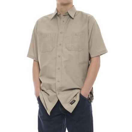 Wrangler Rugged Canvas Camo Trim Work Shirt - Short Sleeve (For Men) in Khaki/Camo - Closeouts