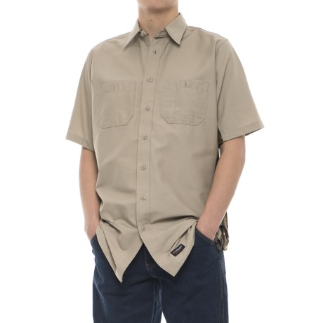 Wrangler Rugged Canvas Camo Trim Work Shirt - Short Sleeve (For Men) in Khaki/Camo