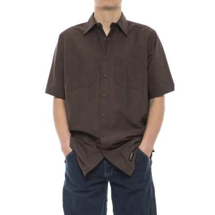 Wrangler Rugged Canvas Work Shirt - Short Sleeve (For Men) in Brown - Closeouts