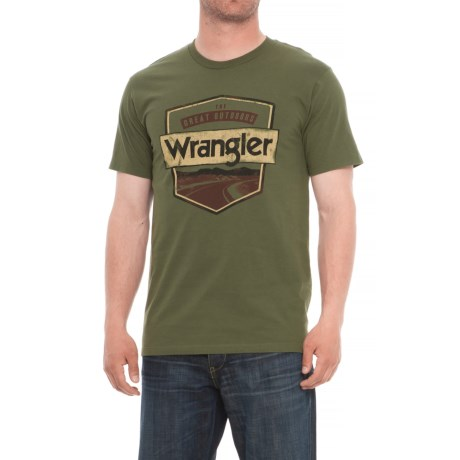 Wrangler Rugged Wear Great Outdoors T- Shirt - Short Sleeve (For Men) in Olive Green