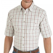 Wrangler Rugged Wear Plaid Shirt - Short Sleeve (For Men) in Khaki - Closeouts