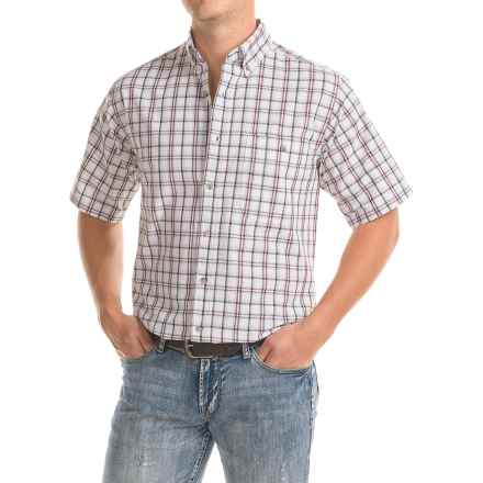 Wrangler Rugged Wear Plaid Shirt - Short Sleeve (For Men) in White - Closeouts