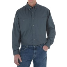 Wrangler Rugged Wear Wrinkle-Free Poplin Shirt - Long Sleeve (For Men) in Blue River - Closeouts