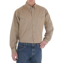 Wrangler Rugged Wear Wrinkle-Free Poplin Shirt - Long Sleeve (For Men) in Taupe - Closeouts