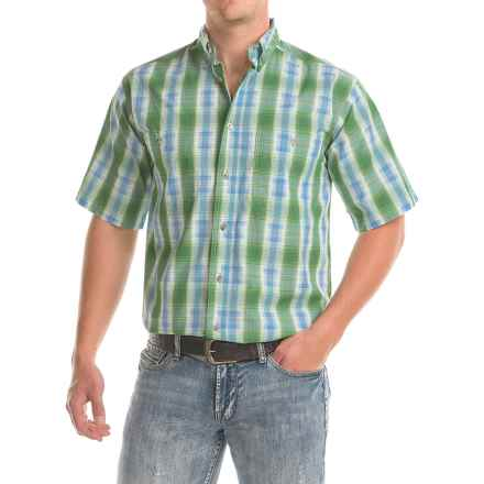 Wrangler Rugged Wear Wrinkle-Resistant Shirt - Short Sleeve (For Big and Tall Men) in Green - Closeouts