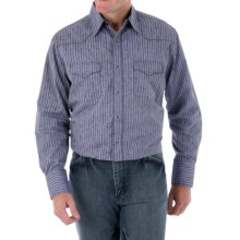 Wrangler Silver Edition Jacquard Stripe Western Shirt - Long Sleeve (For Men) in Blue - Closeouts