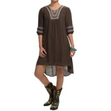 Wrangler Solid Embroidered Dress - 3/4 Sleeve (For Women) in Chestnut - Closeouts