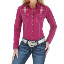 Wrangler Studded Embroidered Western Shirt - Snap Front, Long Sleeve (For Women) in Fuschia - Closeouts