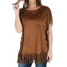 Wrangler Suede Fringed Poncho (For Women) in Nutmeg - Closeouts