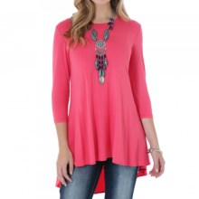 Wrangler Sweep Oversized Tunic Shirt - 3/4 Sleeve (For Women) in Coral - Closeouts