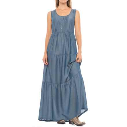 Wrangler Tiered Chambray Maxi Dress - Sleeveless (For Women) in Chambray - Closeouts