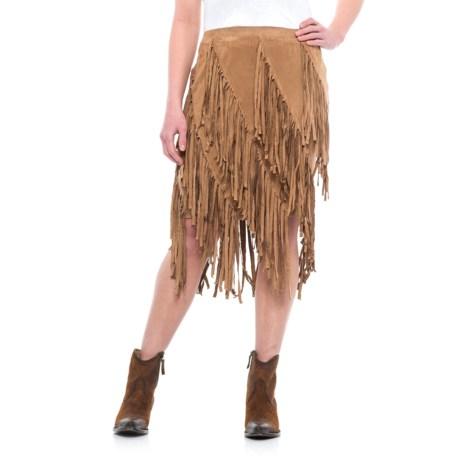 Wrangler Tiered Fringe Skirt (For Women) in Tan
