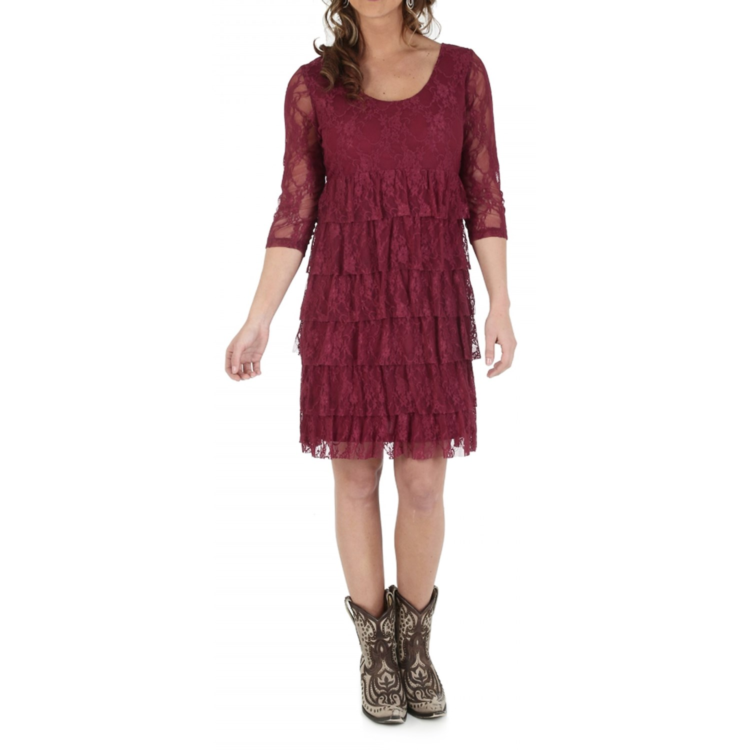 04bbb155f8f7a Wrangler Tiered Lace Dress (For Women) 71 on PopScreen