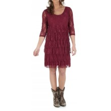 Wrangler Tiered Lace Dress - 3/4 Sleeve (For Women) in Wine - Closeouts