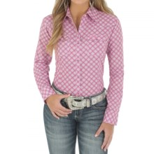 Wrangler Tough Enough to Wear Pink Shirt - Long Sleeve (For Women) in Pink/White - Closeouts