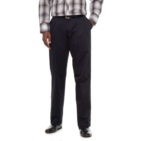 Wrangler Ultimate Khaki No-Iron Pleated Pants - Classic Fit (For Men) in Dark Navy