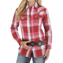 Wrangler Vintage Plaid Shirt - Snap Front, Long Sleeve (For Women) in Red Plaid - Closeouts