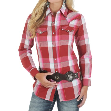 Wrangler Vintage Plaid Shirt Snap Front, Long Sleeve (For Women)