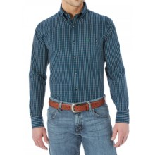 Wrangler Western Fashion Plaid Shirt - Button Front, Long Sleeve (For Men and Big Men) in Navy/Green - Closeouts