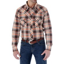 Wrangler Western Jean Plaid Shirt - Snap Front, Long Sleeve (For Men) in Brown/Orange - Closeouts
