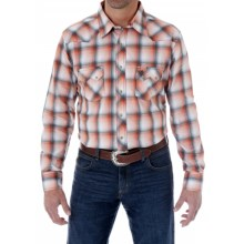 Wrangler Western Jean Plaid Shirt - Snap Front, Long Sleeve (For Men) in Orange/White - Closeouts