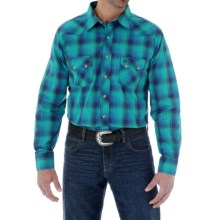 Wrangler Western Jean Plaid Shirt - Snap Front, Long Sleeve (For Men) in Teal/Blue - Closeouts