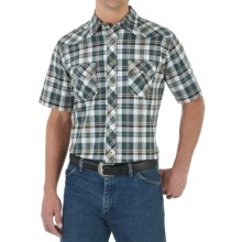Wrangler Western Jean Shirt - Snap Front, Short Sleeve (For Men) in Green/White - Closeouts