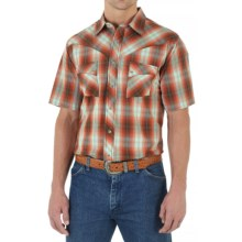 Wrangler Western Jean Shirt - Snap Front, Short Sleeve (For Men) in Rust/Brown - Closeouts