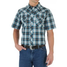 Wrangler Western Jean Shirt - Snap Front, Short Sleeve (For Men) in Teal/Black - Closeouts