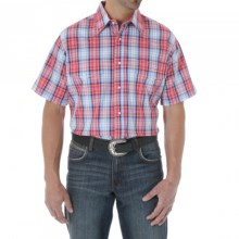 Wrangler Wrinkle Resist Plaid Shirt - Snap Front, Short Sleeve (For Men and Big Men) in Red/Blue - Closeouts