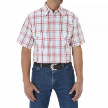 Wrangler Wrinkle Resist Plaid Shirt - Snap Front, Short Sleeve (For Men and Big Men) in White/Red - Closeouts