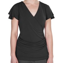 Wrap Front Ruched Shirt - Short Sleeve (For Women) in Black - 2nds