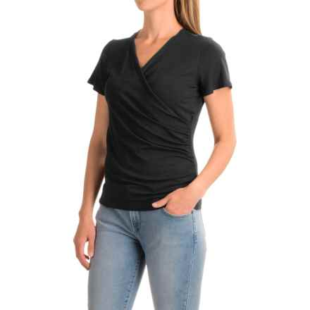 Wrap-Front Shirt - Rayon, Short Sleeve (For Women) in Black - 2nds