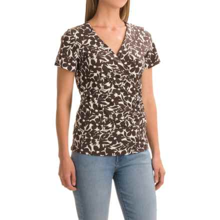 Wrap-Front Shirt - Rayon, Short Sleeve (For Women) in Brown Floral Print - 2nds