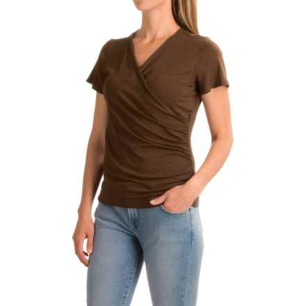 Wrap-Front Shirt - Rayon, Short Sleeve (For Women) in Brown - 2nds