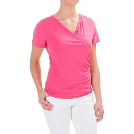 Wrap-Front Shirt - Rayon, Short Sleeve (For Women) in Pink Rose - 2nds