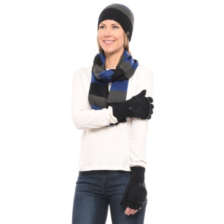 Wrapsody in Hues Beanie, Scarf and Gloves Set (For Women) in Blue