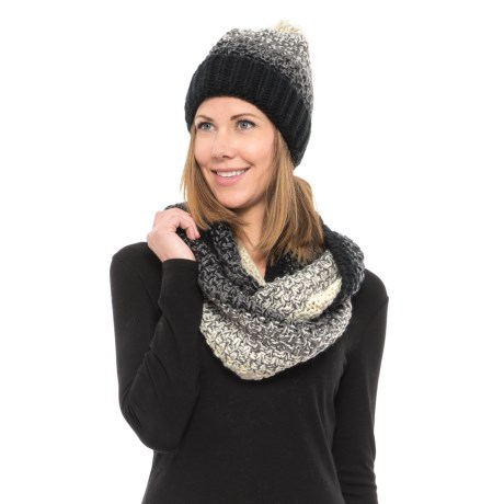 Wrapsody in Hues Infinity Scarf and Pompom Beanie Set (For Women) in Cream/Black